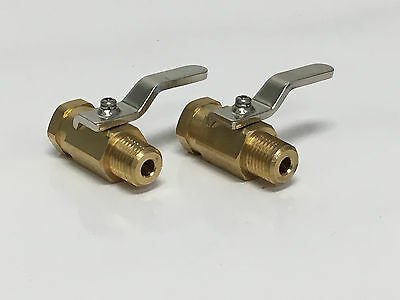 "Carpet Cleaning 1/4"" Hose Brass Shutoff Valve, 1000psi, Set of 2"