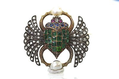 Antique French Diamond Emerald Scarab Brooch Circa 1900's