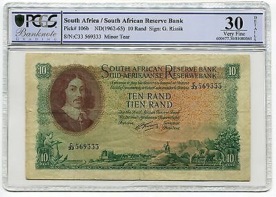South African ND(1962-65) 10 Rand Reserve Bank Sign: G. Rissik-PCGS Graded VF 30