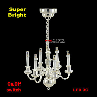 6 arms chandelier Bright battery LED LAMP Dollhouse miniature light 1:12 SILVER