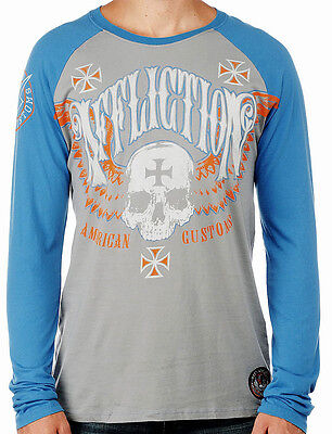 AFFLICTION Hand In Hand A16871 New Men`s Graphite//Black Long Sleeve T-shirt