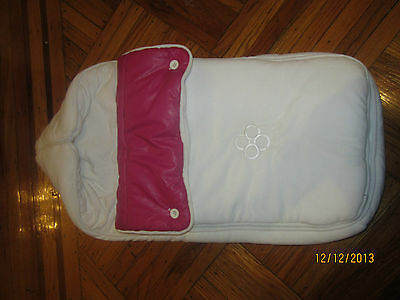 CHICALI HOT PINK LEATHER REVERSABLE FOOTMUFF bunting infant