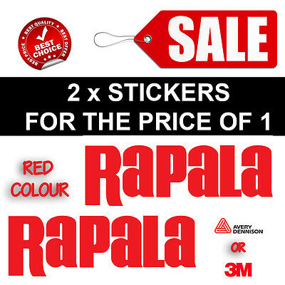 2 x RAPALA RED DECAL STICKER FOR BOATS / FISHING MARINE GRADE 200MMX70MM