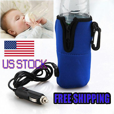 12V Food Milk Water Drink Bottle Cup Warmer Heater Car Auto Travel Baby USA B2