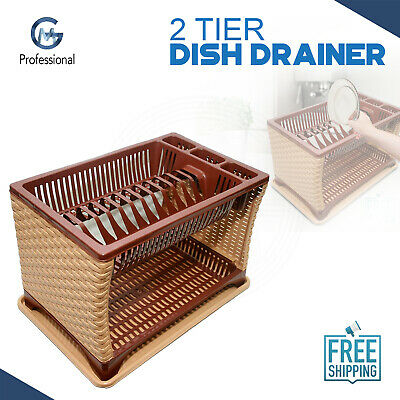 Modern Two 2 Layer Plastic Dish Drainer Rack Utensil Cutlery Light Brown Sides T