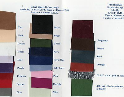 A4 velvet paper red blue black tan green pink 18 colours