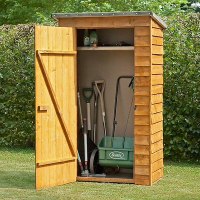 4 x 2ft WOODEN OVERLAP GARDEN TOOL STORE DIP TREATED TIMBER COMPACT STORAGE NEW
