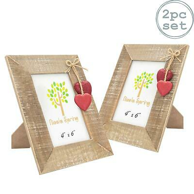 """Wooden Photo Picture Frame With Red Hearts - 4 x 6"""" - Pack Of 2"""