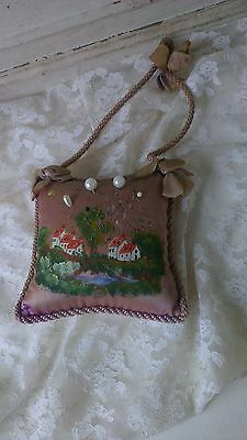 Antique ,French ,handpainted pincushion , pink, with string cord and bows,1900´s