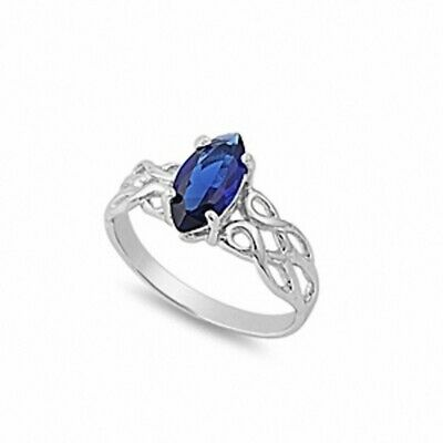 Solitaire Celtic Twisted Knot Ring 925 Sterling Silver 1.25 Blue Sapphire