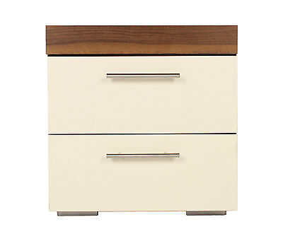 Brooklyn Bedroom Set, BEDSIDE CABINET White, Walnut Finish NEW Bed Side Table
