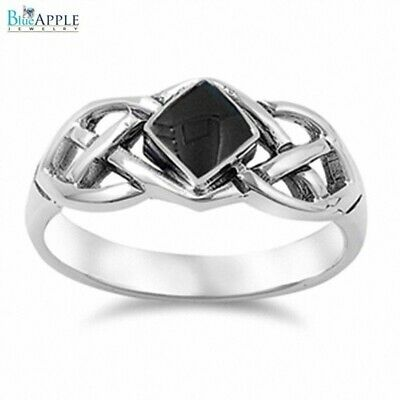 3mm Solitaire Twisted Knot Celtic Engagement Ring 925 Sterling Silver Black Onyx