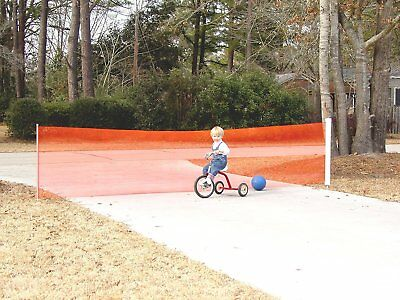 Kid Kusion Retractable Driveway Guard 18 feet Safety Net In Orange, 4700 New