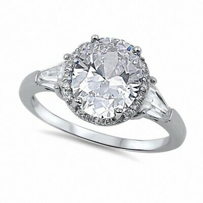 8e34172548cfc 3 STONE WEDDING Halo Engagement Ring 925 Sterling Silver 3Ct Russian ...