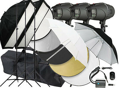 900w Flash Photo Studio Strobe light 3 x 300w heads P-300 LED Umbrella 900 Kit 2