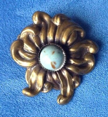 Vintage Antique Victorian Brass Flower Turquoise Estate Brooch Pin C CLASP