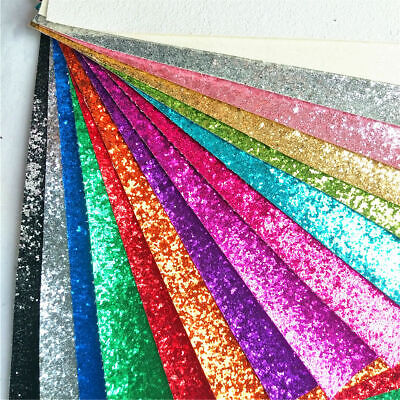 A4 Sparkle Chunky Glitter Shiny Fabric Leather Vinyl DIY Bag Bows Craft Material