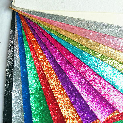 Sparkle Chunky Craft Glitter Fabrics Leather Vinyl DIY Sheets Roll Bows Material
