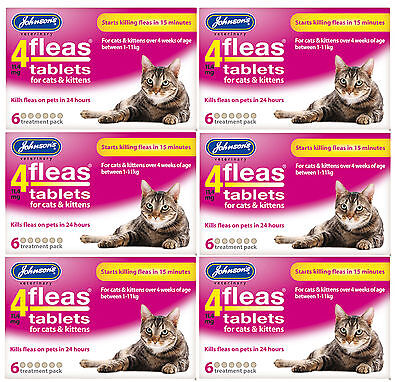 Johnsons 4 Fleas Cat Flea Tablets 6 Tablets Bulk Buy Of 6 Packs