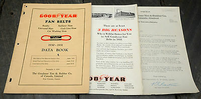 RARE 1930-1931 Goodyear Canada Fan Belts Dealer Data Book, Letter & Fold-Out Ad