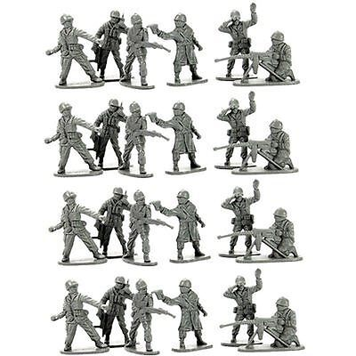 Classic Set of 24 x Traditional Grey Toy Army Soldiers Troopers