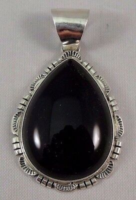 Navajo Sterling Silver Black Onyx Handmade Pendant - Renell Perry