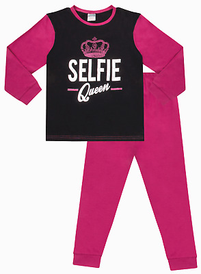 Girl's Selfie Queen Long Pyjamas 11 to 16 Years Pink Black Pj Pjs Hashtag