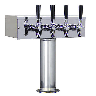 Kegco TTOW-4F-SS Polished Stainless Steel T-Style 4 Faucet Taps Beer Tower