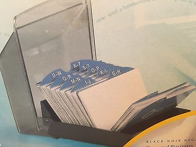 """NIB Rolodex Covered Business Card File with 2 5/8"""" x 4"""" Cards Includes 50 Cards"""
