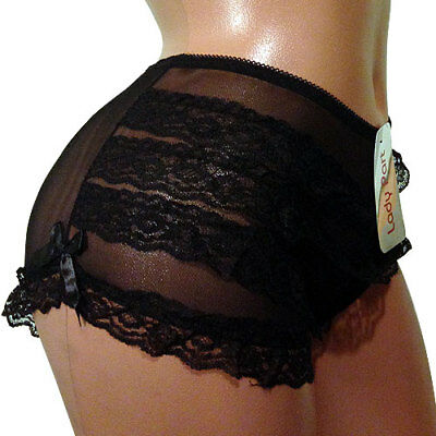 Ladies Sexy See-Thru Frilly Ribbon Bows French Knickers Panties One Size UK S 8