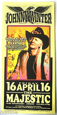 JOHNNY WINTER, Original Concert Poster Signed Mark Arminski, Blues, Guitar, MINT