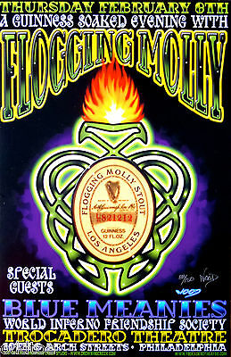 FLOGGING MOLLY, Concert Poster S/N Jeff Wood, BLUE MEANIES, Guinness Soaked Nite