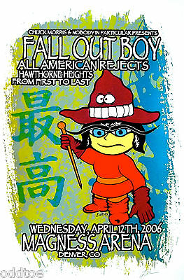 FALL OUT BOY, Orig. Concert Poster S/N Lindsey Kuhn, ALL AMERICAN REJECTS, Mint