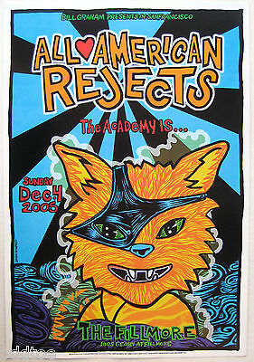 ALL AMERICAN REJECTS- Orig 2005 Concert Poster by John Howard, Fillmore F739 cat
