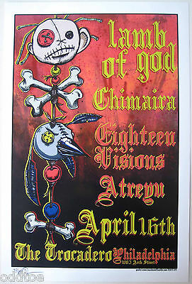 LAMB OF GOD- ORIGINAL SIGNED/NUMBERED 2003 CONCERT POSTER by Mike Fisher