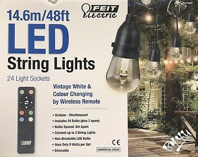 FEIT 48ft - 14.6m 24 Bulb +2 Spare Colour Changing Outdoor Garden String Lights