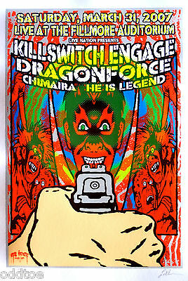 KILLSWITCH ENGAGE, Orig. Concert Poster S/N Lindsey Kuhn, CHIMAIRA, Dragon Force