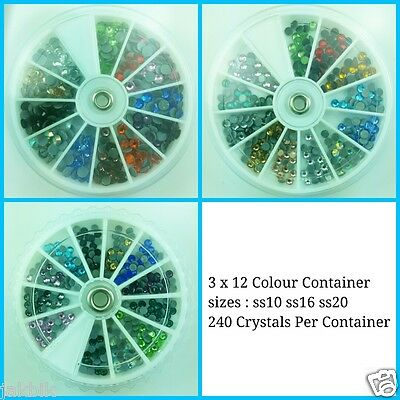 240 Flatback Hotfix 12 colours Disk SS12, SS16, or SS20 JCE111