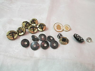 Vintage 19 Buttons black white plastic & brass with Rhinestones