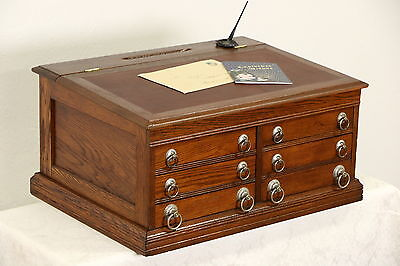 Oak Victorian Pat. 1897 Antique Spool Cabinet or Jewelry Chest, Leather Top