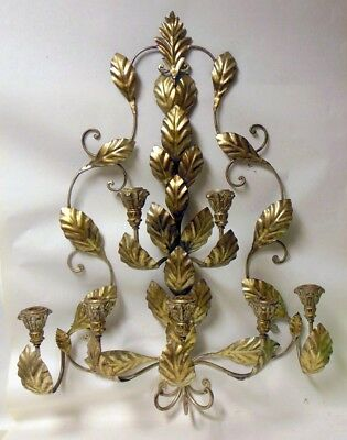 "Vtg 34"" Italian Tole Metal and Wood Wall Sconce CandleHolder Hollywood Regency"