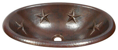 "19"" Oval Copper Vessel Vanity Sink with Star Design"