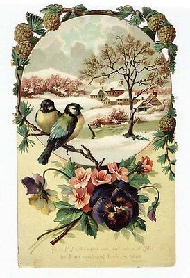 Large VICTORIAN Greeting Card 1880s - Die Cut Top PINE CONES - BIBLE VERSE Snow