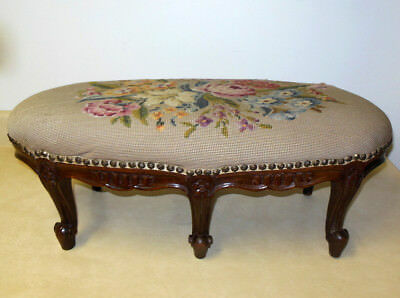 Antique French Hand Carved Footstool Rare 6 Cabriole Legs Floral Louis XV