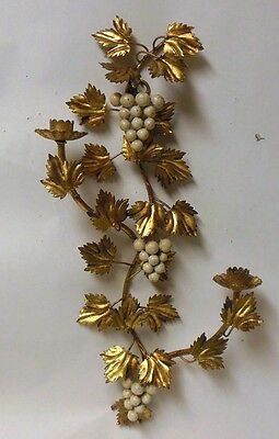 "Vtg Italian Gold Metal Tole Wall Sconce  21"" Candleholder Grape Clusters Wine"