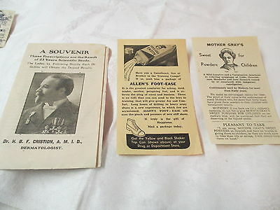 Antique & Vtg Medical Advertisements Mother Gray's Allen's Foot Ease Dr Criston