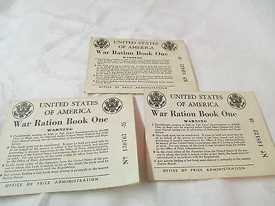 Vintage 1942 3 War Ration Books California Mother Father & Baby
