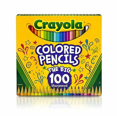 Crayola Colored Pencils 100 Count Vibrant Colors Pre-sharpened Art Tools Grea...