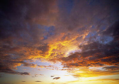 Art print POSTER Clouds Reflecting Fiery Sunset Colors