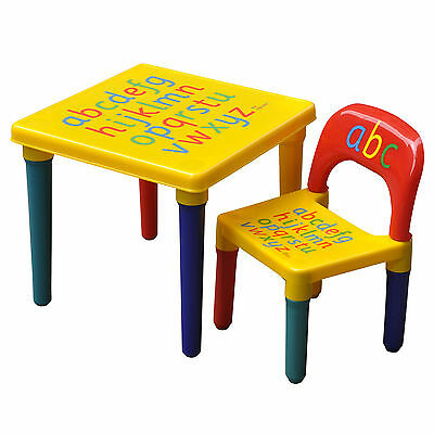 Kids ABC Alphabet Plastic Table and Chair Set Children Toddlers Learn & Play